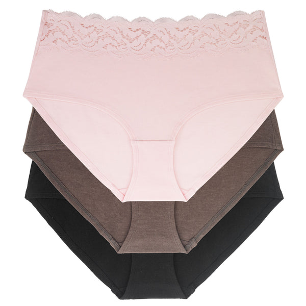 Dorina D01882Y Pink/Brown/Black Esther Cotton Lace Top 3 Pk Briefs MYSELFLINGERIE.COM