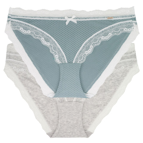 D00169X Teal/Heather Blue Lace Modal 2 Pk Brief