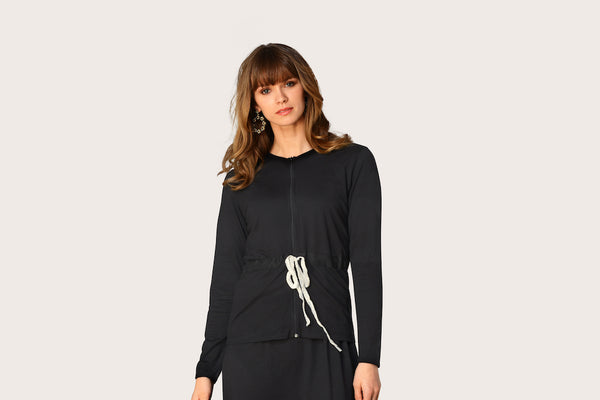 Rojo London Lacy Black Modal Nightgown & Zip Up Sweater