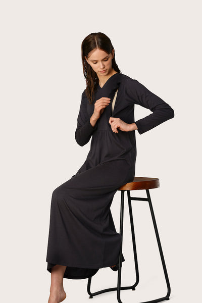 Galine Ruffled Waisted Charcoal Nightgown & Zip Up