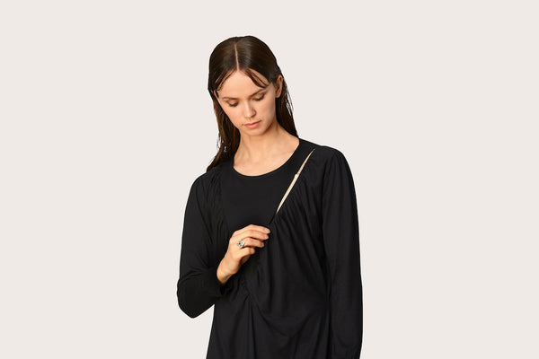 Percy Gathered Black Nightgown & Zip Up Hoodie
