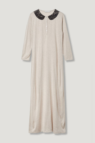 Rojo London Lacy Oatmeal Nightgown & Zip Up Sweater