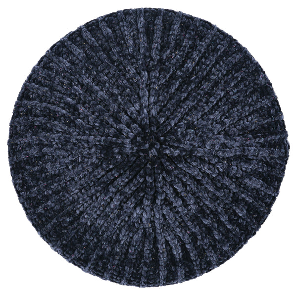Lizi Headwear Ribbed Velvet Lurex Navy/Colorful Chenille