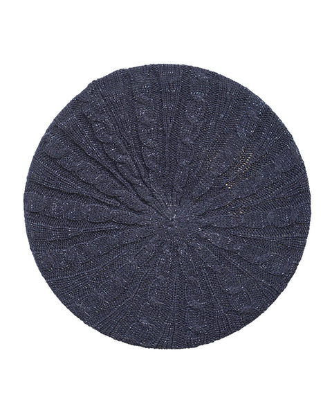 Lizi Headwear Cable Knit Lined Navy Lurex Beret myselflingerie.com