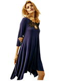 Oh! Zuza OZ246 Navy Flared Modal Nightshirt with Black Lace Neckline MYSELFLINGERIE.COM