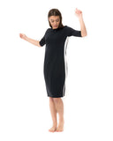 Undercover Waterwear RD-BK Black Racer Stripe Swim Dress myselflingerie.com