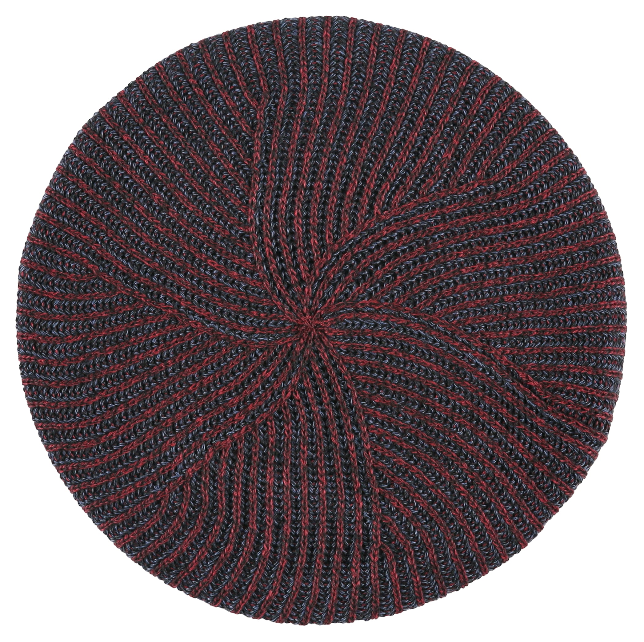 Lizi Headwear Burgundy/Navy Ribbed Winter Knit Chenille