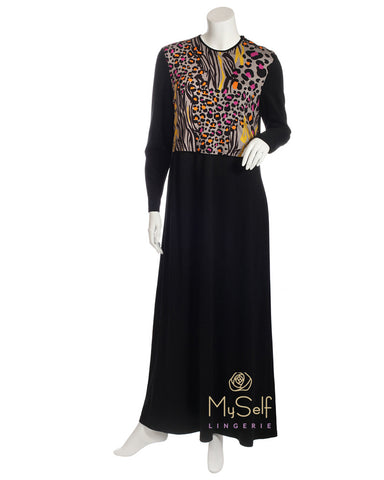 S5791-L Black Nursing Nightgown with Leopard Print