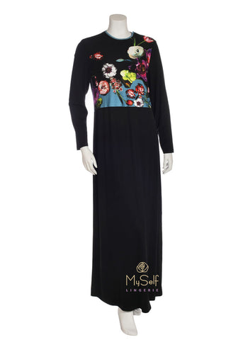 Angelice S5791 Black Nursing Nightgown with Floral Design myselflingerie.com