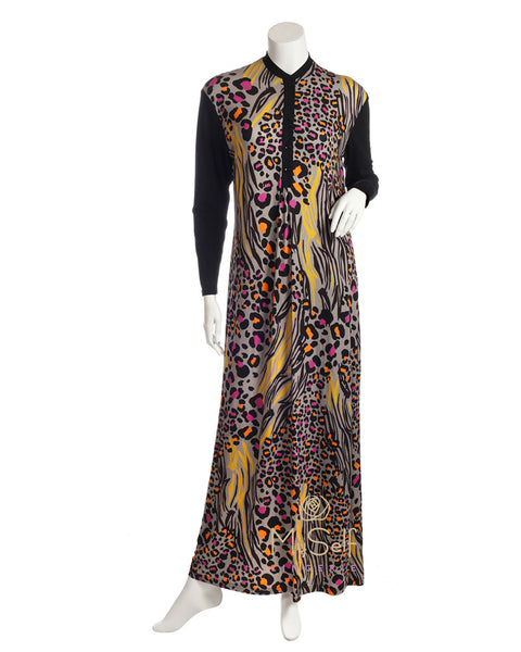 Angelice S5840 Black Button Down Nightgown with Leopard Print myselflingerie.com