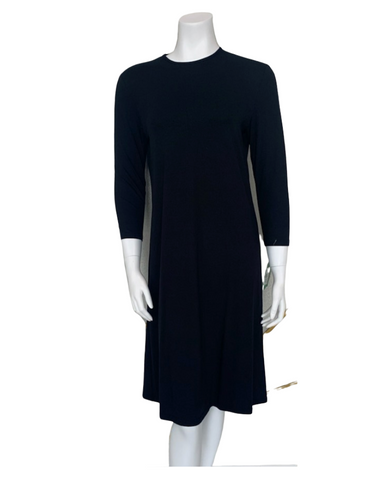 "S6028 Black Long Sleeve 43"" Shell Dress"