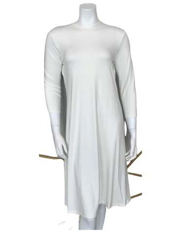 "S6028 Ivory Long Sleeve 43"" Shell Dress"