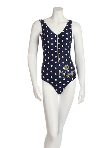 Marc and Andre Paris SP19-01 Polka Dot Navy Bathing Suit with Gold Zipper myselflingerie.com