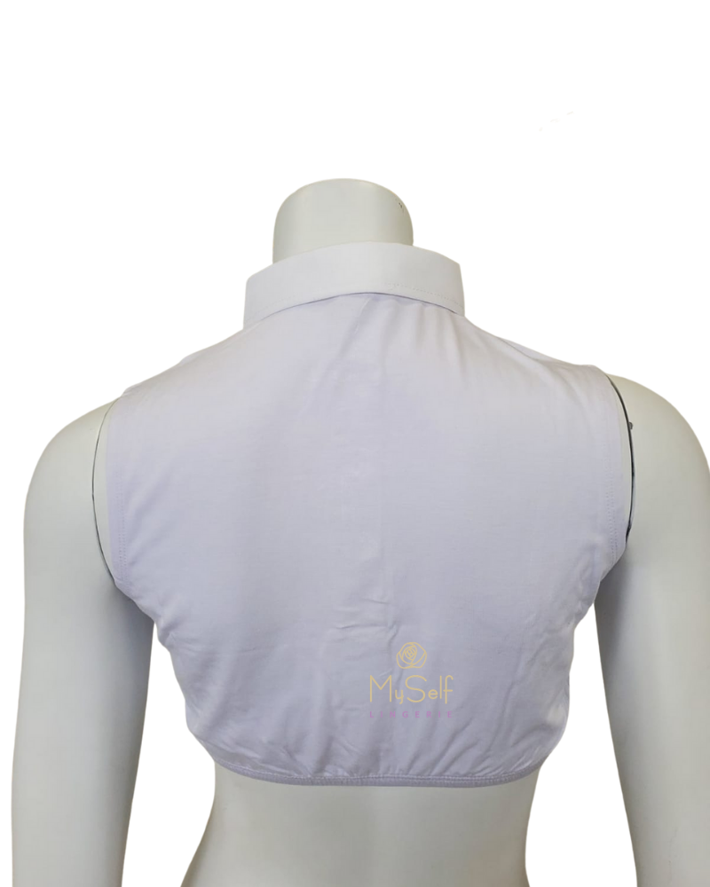 Gemsli SH325 White Sleeveless Crop Shell w/ Placket and Pointed Collar myselflingerie.com