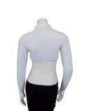 Gemsli White Long Sleeve Crop Shell with Pointed Collar and Cuffs myselflingerie.com