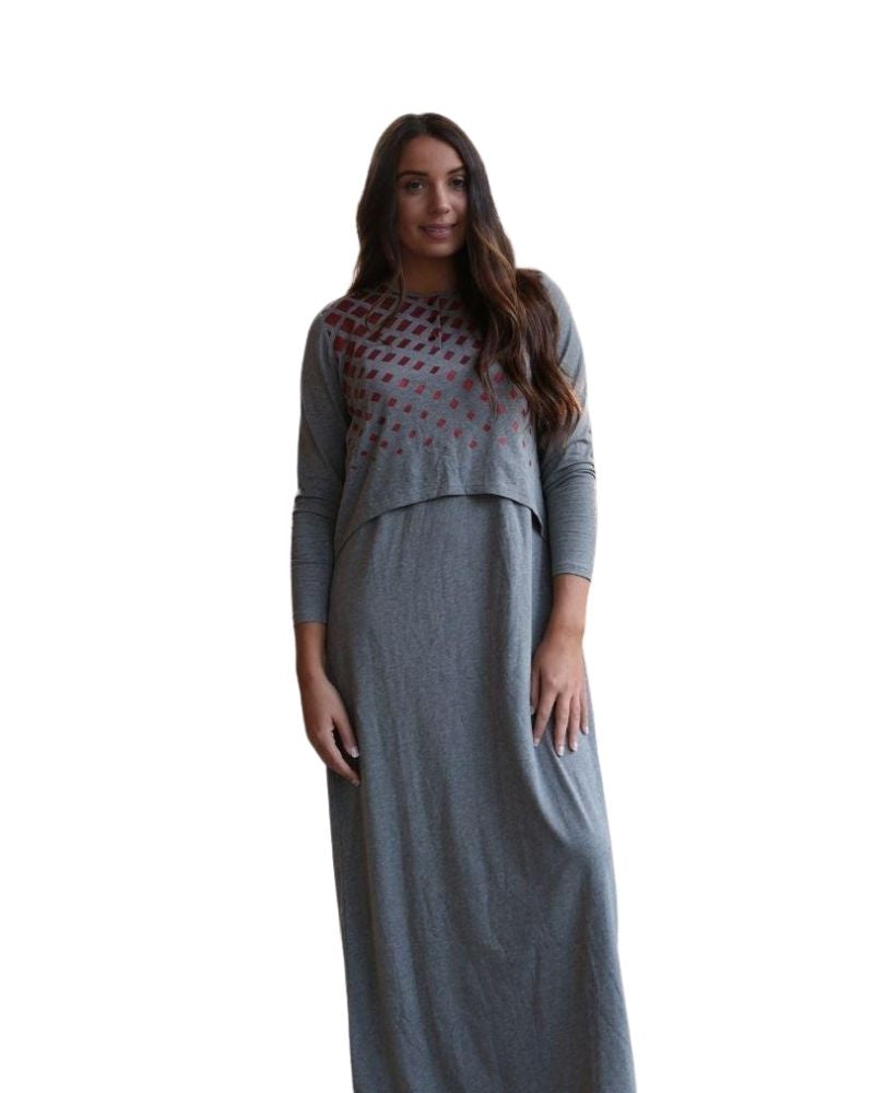 Chicolli CH6758B Charcoal Grey Geometric Shimmer Nursing Nightgown myselflingerie.com