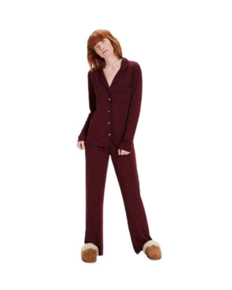 UGG 1105013 Wild Grape Lenon Button Down PJ's Set myselflingerie.com