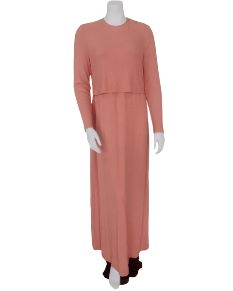 S6034 Salmon Ribbed Bamboo Modal Nursing Nightgown
