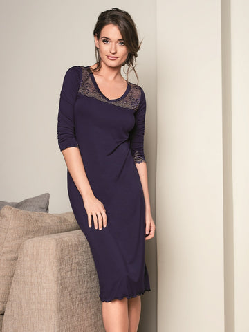 3011 Navy Metallic Lace Neck Nightshirt myselflingerie.com