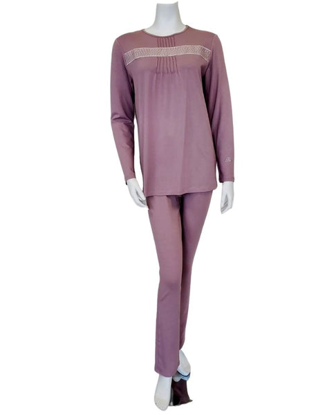 Pierre Balmingo Paris 30-4001A Tucks Design Mauve Modal Pajamas Set myselflingerie.com