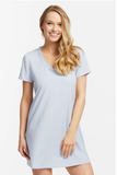 631 Fleur't Blue Stripe Lace Short Sleeved Modal Nightshirt MYSELFLINGERIE.COM