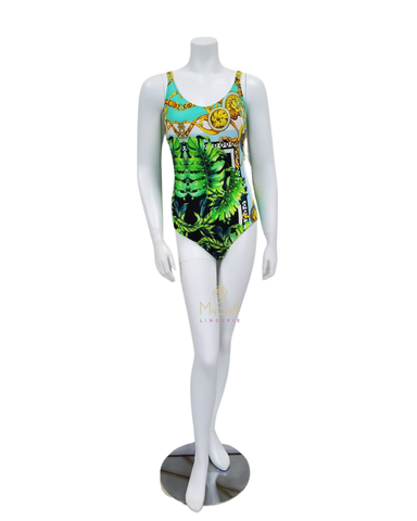 Furstenberg Green Leaves & Gold Medallions Underwire Swimsuit