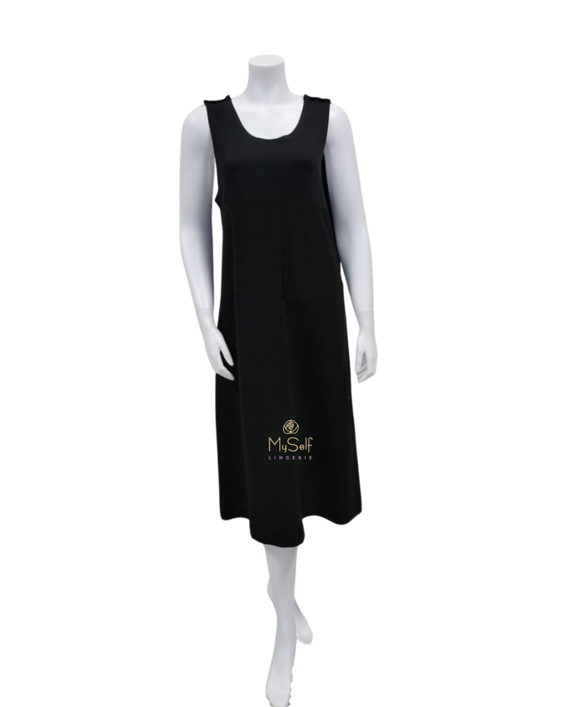 "Bescar R219-13 Regular Length Black Maternity Slip 27"" Skirt myselflingerie.com"