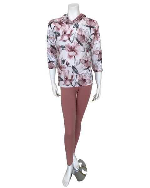 Oh! Zuza N147 + OZ245 Floral Hooded Lounge Top and Antique Rose Leggings MYSELFLINGERIE.COM