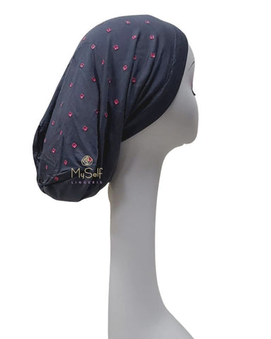 C. Bird Fuchsia Square Studs Grey Cotton Beanie Snood