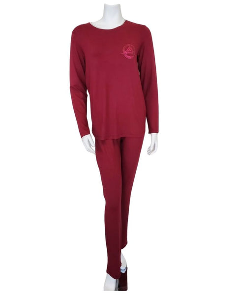 Pierre Balmingo Paris 30-4003B Raspberry Modal Pajamas Set with Emblem MYSELFLINGERIE.COM