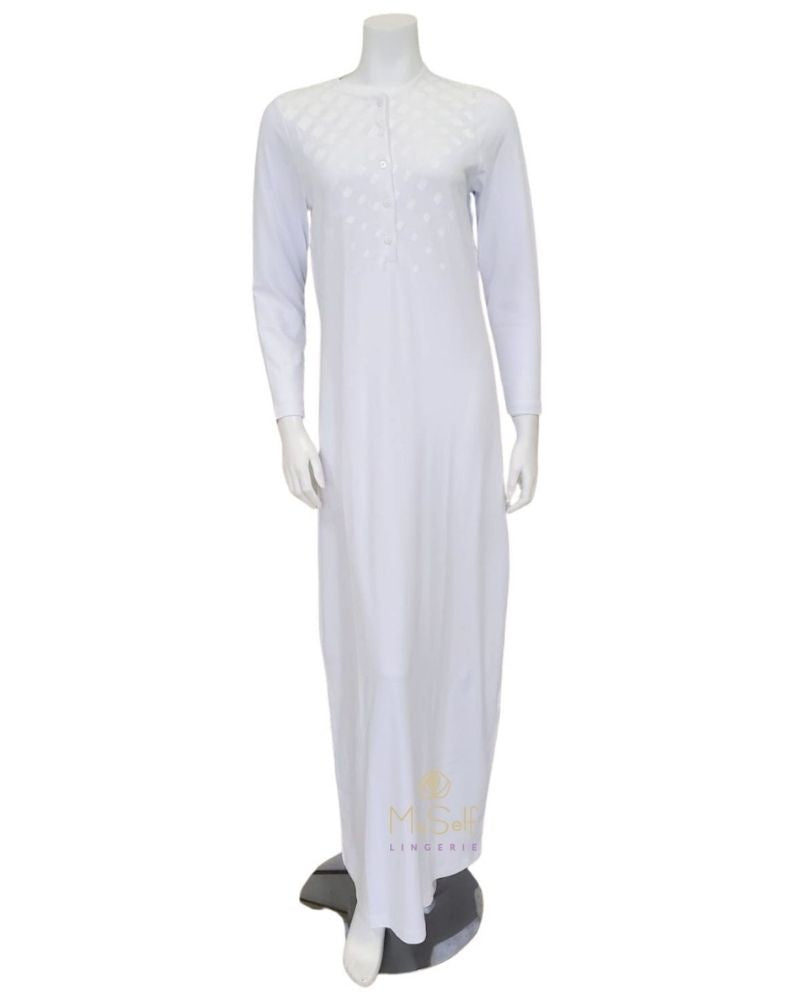 CH6758A White Geometric Shimmer Button Down Cotton Nightgown myselflingerie.com