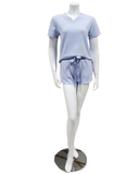 Q81174 Blaire Blue Fleece Lined Modal PJ's Shorts Set