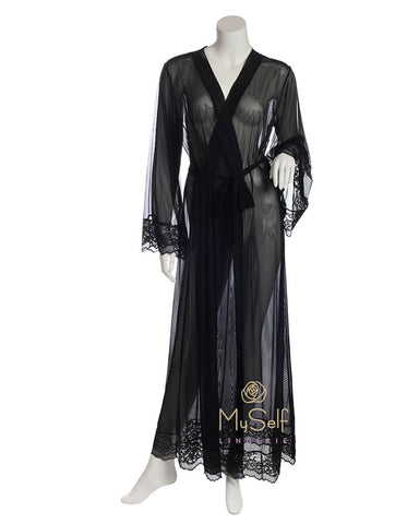 Marc and Andre Paris A9-09PS101-L Black Sheer Long Wrap Robe with Lace Trim myselflingerie.com