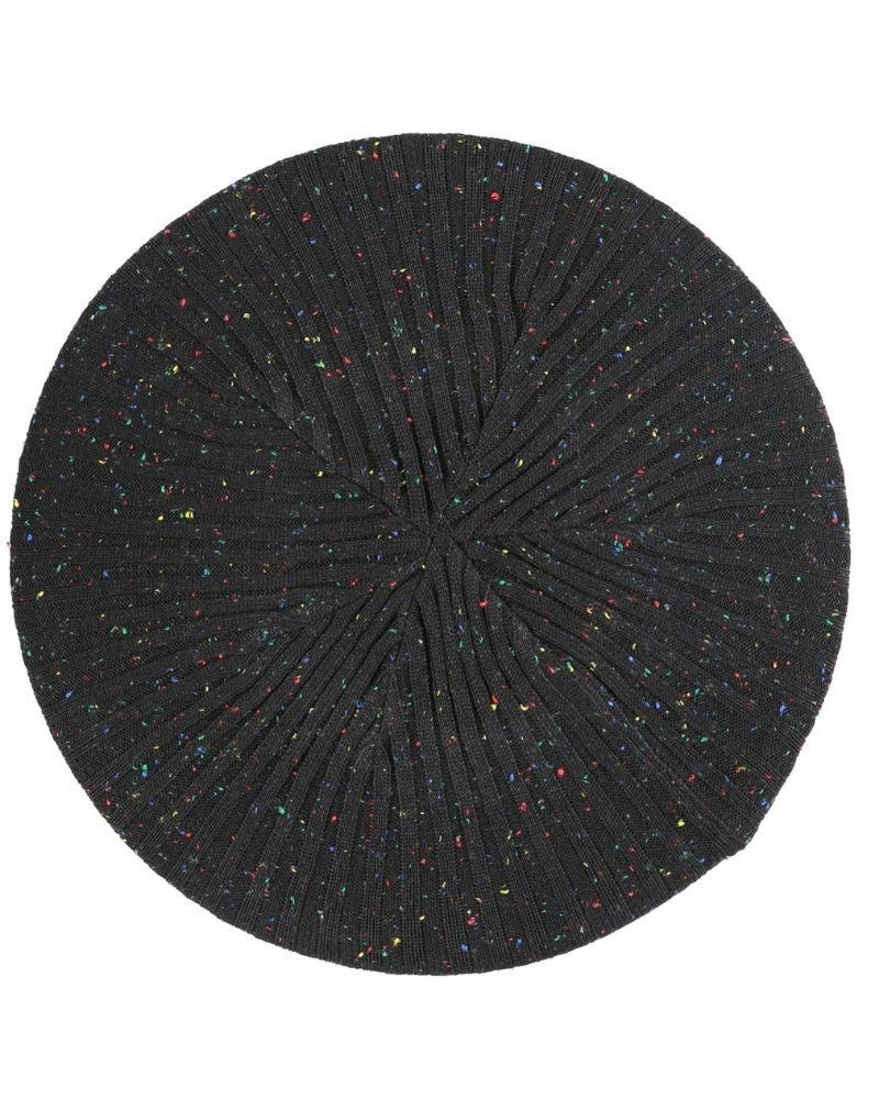 Lizi Headwear Ribbed Knit Black/Colorful Speckled Beret myselflingerie.com