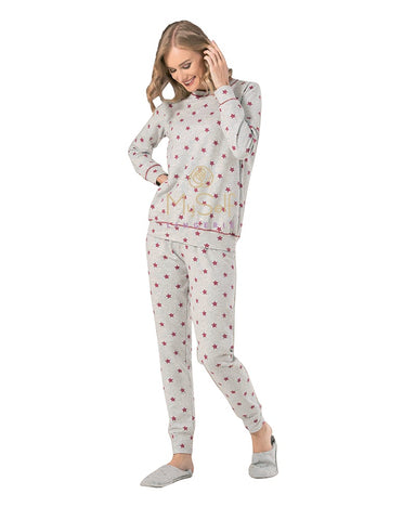 NBB 66643 Heather Grey and Red Star Print Cotton Pajamas myselflingerie.com