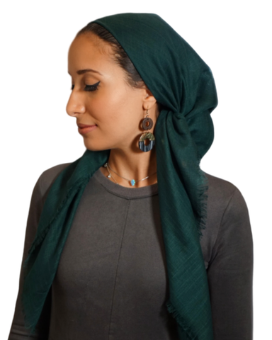 Tie Ur Knot Forest Green Solid Pre-Tied Bandanna with Light Non Slip Grip