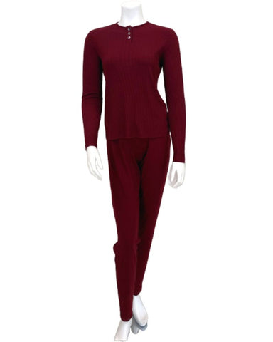S6007 Wine Ribbed Bamboo Modal Pajamas Set