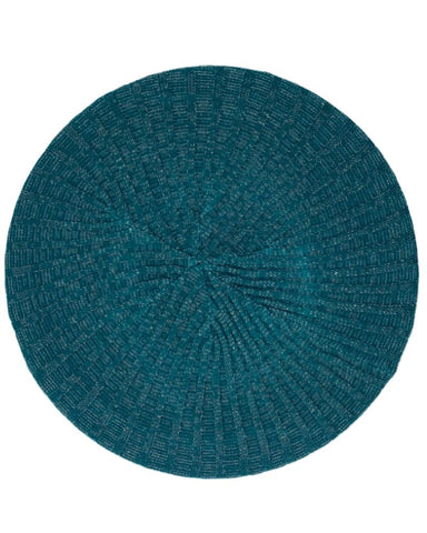 Ribbed Knit Lurex Teal / Silver Lined Chenille