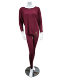 Vanilla Night and Day 3049 Red Wine Round Neck Pajamas Set myselflingerie.com