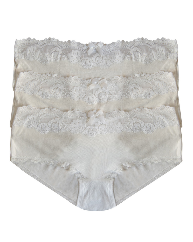 You 100-201 Lace Top White Cotton Hipsters 3 Pack myselflingerie.com
