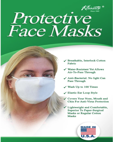 Kleinert's White Breathable Cotton Face Mask
