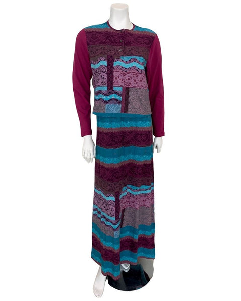 ANB1807 Wine and Teal Patchwork Print Cotton Nursing Nightgown
