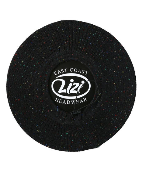 Lizi Headwear Waffle Knit Black/Colorful Speckled Beret myselflingerie.com