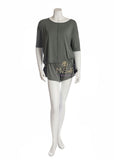 Oh! Zuza Agave Green Pajama Top with Lace Sided Pajama Shorts