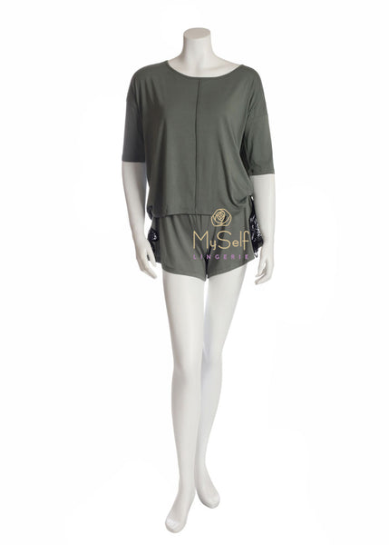 OZ242 + OZ243 Agave Green Pajama Top with Lace Sided Pajama Shorts