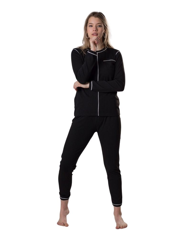 Ellwi 201 Black Ribbed Modal PJ's with White Piping myselflingerie.com