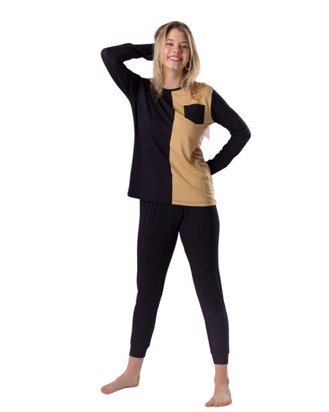 Ellwi 208 Black and Mocha Colorblock Modal Pajamas Set myselflingerie.com
