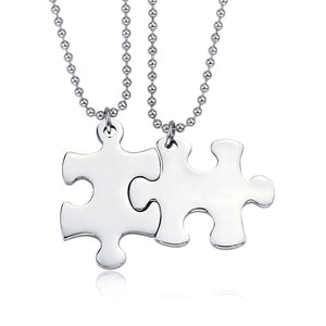 READY TO SHIP * Stainless Steel Puzzle Piece Necklace // 2 Piece Set