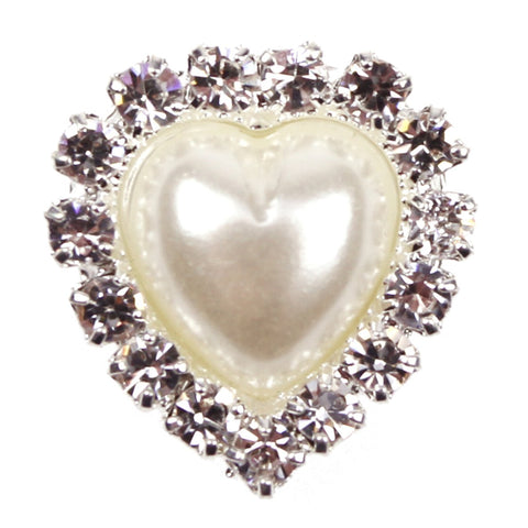 Heart shaped pearl and diamanté embellishment x10