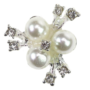 Diamante rhinestone crystal embellishments with faux pearls x10